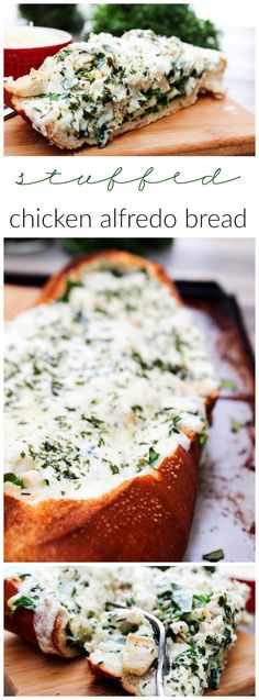 Stuffed Chicken Alfredo Bread - A Dash of Sanity 30 Min Meals, Easy Meals, Easy Dinner Recipes, Appetizer Recipes, Yummy Appetizers, Dinner Ideas, Food Dishes, Main Dishes, Bread Recipes