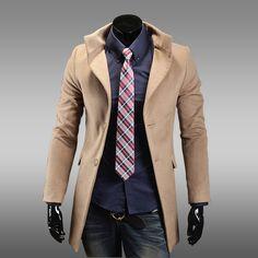 Stylish Slimming Turn-Down Collar Single Breasted Long Sleeeves Woolen Business Windbreaker For Men (BLACK,M) | Sammydress.com