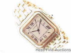 Massive Genuine Large Gents Cartier 18k Yellow Gold Panthere Watch