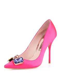 Sophia Webster Lola Gem Satin Pump, Hot Pink  via @legalleeblonde