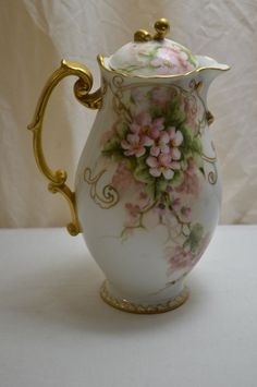 1894 hand painted limoges coffee tea chocolate pot floral signed mavi
