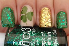 St Patricks Day Manicure  Index and pinky: franken made with TKB Chromium green pigment topped with Ulta3 Luck of the Irish.  Ring: OPI Golden Eye, Essence Make it Golden and Ulta3 Pot of Gold.  Middle: Picture Polish Beige with press natural clover leaf. @Shannon Baker