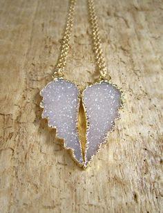 Friendship Necklace.  Druzy Angel Wing Friendship Necklaces Drusy Quartz 14K Gold Fill. $168.00, via Etsy.