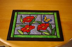 Stained glass quilted placemats by DonnasBlossoms on Etsy, $35.00