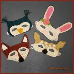 Here is a ONE STOP for all 4 of the Woodland Character Masks! Click on Each photo or link above the photo to take you to its video tutorial and written pattern. Owl Mask Fawn Mask Fox Mask Bunny Ma…