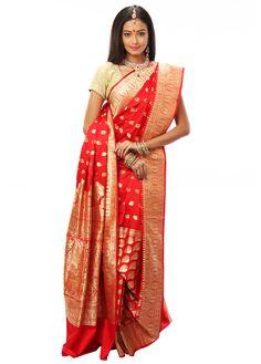 BUY SAREE ONLINE - ELEGANT BENARASI SAREE WITH BLOUSE   INDIAN SILK HOUSE AGENCIES