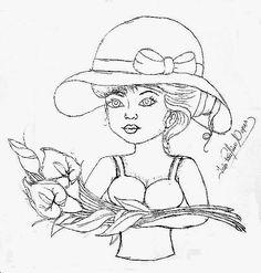 desenho de boneca com ramo de copos de leite para pintar em pano de copa e colocar saia de croche