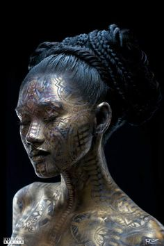 """the black haired beauty Michael Rosner """"Goddess Mahina III"""" Body Painting, Street Art Fantasy Eyes, Art Visage, Look Body, Arte Obscura, Real Model, Maquillage Halloween, Painting Process, Painting Lessons, Face Art"""