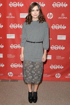 Keira Knightley.. Valentino skirt and jumper with a Mulberry belt..
