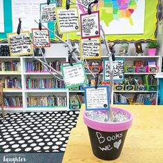 Colorful classroom library organization ideas from Lessons with Laughter, book recommendation tree Classroom Library Labels, Classroom Jobs, Classroom Setting, Classroom Environment, Classroom Setup, Classroom Design, Classroom Libraries, Classroom Management, School Libraries