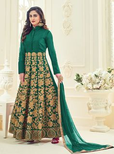 Krystle D'Souza Green Silk Ankle Length Anarkali Suit 86798