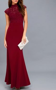 Crazy About You Burgundy Backless Lace Maxi Dress Best Maxi Dresses, Nice Dresses, Formal Dresses, Lace Maxi, Lace Dress, Red Maxi, Burgundy Dress, Gown Wedding, Your Girl