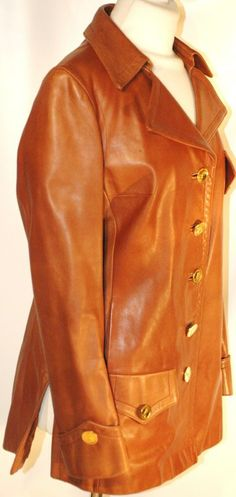 Vintage Roberta Di Camerino Tabacco Brown Leather Jacket w Gold R Logo Buttons | From a collection of rare vintage jackets at http://www.1stdibs.com/fashion/clothing/jackets/
