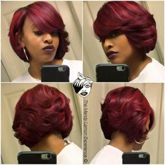 Feathered bob bobs short hair styles, hair styles и hair cut My Hairstyle, Pretty Hairstyles, Girl Hairstyles, Black Hairstyles, Short Quick Weave Hairstyles, Pelo Color Borgoña, Curly Hair Styles, Natural Hair Styles, Pelo Afro