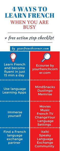 4 Easy Ways To Learn French Even If You Don't Have Time. Repin for Later :-) #learningfrench #Frenchlessons # LanguageLearning #fle #FrenchImmersion #French