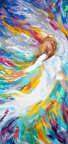Original oil painting Windswept Angel PALETTE KNIFE on canvas by Karen Tarlton impressionism impasto palette knife fine art Modern Impressionism, Prophetic Art, Palette Knife Painting, Angel Art, Art Auction, Painting Inspiration, Cool Art, Awesome Art, Abstract Art