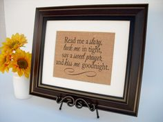 Burlap Print Baby or Child's Room Rustic Sign  by InTheDustDesigns