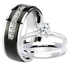 Black Anium Men Wedding Band 2 Pc Women Stainless Steel Engagement Solitaire Round Cz Bridal Ring Set His And Hers Rings