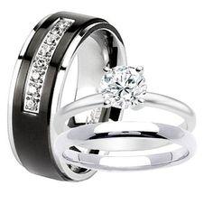 black titanium 8mm men wedding band 2 pc women stainless steel engagement solitaire round cz