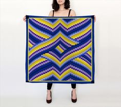 """Big Square Scarf (36"""" x 36"""") """"Violet, Gold and Blue Bargello Pattern """" by R. V. James"""