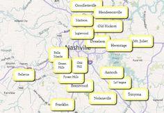 Nashville Tennessee Area Map | Nashville Suburbs and Neighborhood Search…