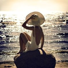 White. Backless. Floppy hat. Beach. Perfection.