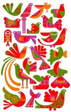 birds green oranges purple red