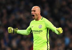Willy Cabellero of Manchester City celebrates his sides first goal during the UEFA Champions League Group C match between Manchester City FC and FC Barcelona at Etihad Stadium on November 1, 2016 in Manchester, England.