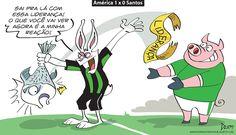 Charge do Dum (Zona do Agrião) sobre vitória do #América diante do #Santos no #Brasileirão (08/08/2016). #Charge #Dum #CampeonatoBrasileiro #HojeEmDia