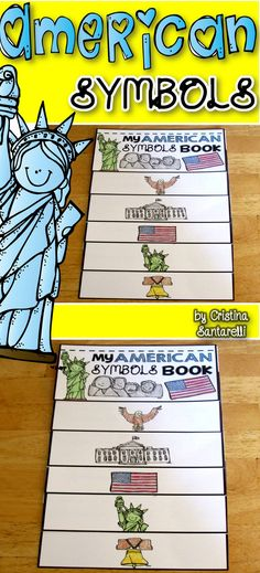This flip book contains important American symbols and icons. On each flap students copy the image and write a few sentences about the symbol/icon. This can be used to teach students about important aspects of Americans government and values! 3rd Grade Social Studies, Kindergarten Social Studies, Social Studies Activities, Teaching Social Studies, Student Teaching, Citizenship Activities, Class Activities, Teaching History, Kindergarten Activities