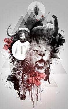 Animals, African big 5 illustration