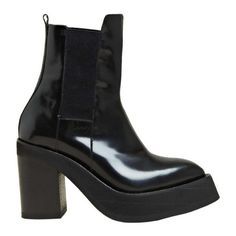 YANG LI WOMEN'S PLATFORM CHELSEA BOOT (21,870 MXN) ❤ liked on Polyvore featuring shoes, boots, ankle booties, heels, chelsea boots, wedges, women, yang li, wedge booties and leather wedge booties