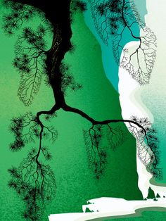"Eyvind Earle - "" Seacliffs & Pine Branch """