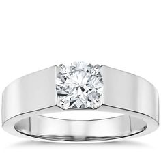 Round diamond, 5 mm band, flat top, any setting except cathedral. Please and Thank You ;)