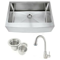30 Inch Stainless Steel Curved Front Farm Apron Kitchen Sink and Cypress Stainless Steel Faucet Combo