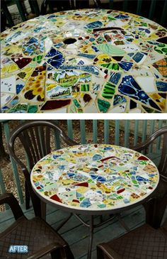 perfect idea...she used old colored plates from the thrift store..broke them to pieces and made a mosaic table...love it!