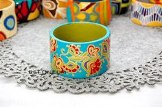 Hand Painted Bangle Bracelet by Bettineum on Etsy, $30.00