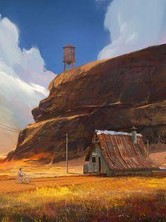 Fantasy Art: way by Ramazan Kazaliev Landscape Concept, Fantasy Landscape, Landscape Art, Fantasy Art, Environment Painting, Environment Concept Art, Environment Design, Landscape Illustration, Digital Illustration