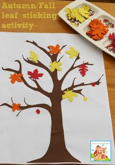Autumn Fall leaves sticking activity with leaves and tree cut on the Cricut Explore./ Perfect preschool and toddler activity