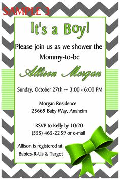 CHEVRON BOWS BABY SHOWER INVITATION- TO FOLLOW ME ON FB PLEASE CLICK ON THE PHOTO TWICE