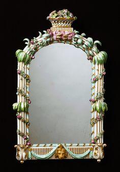 Porcelain Mirror, Royal Copenhagen, circa 1785