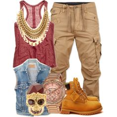 Shirt, Necklace, Pants, and Timb's. With a purse. Tims Outfits, Timberland Outfits, Dope Outfits, Urban Outfits, Swag Outfits, Outfits For Teens, Fall Outfits, School Outfits, Dope Fashion