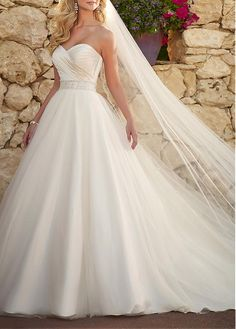 Romantic Satin & Tulle Ball Gown Strapless Sweetheart Neckline Natural Waist Beaded Appliques  Wedding Dress