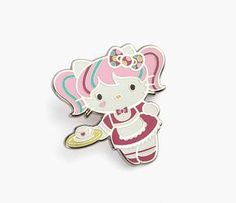 Accessorize in the cutest way! The large sized Hello Kitty Japanimation pin is a sweet addition to your growing collection. Crafted by Pin USA, this silvertone Hello Kitty pin is enamel filled and includes a custom red rubber bow clutch.