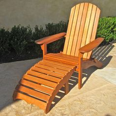 International Caravan Royal Tahiti Yellow Balau Outdoor Large Adirondack Chair with Footrest - Overstock™ Shopping - Great Deals on International Caravan Chaise Lounges