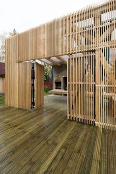 *modern architecture, wooden slats, wall dividers* - The Arbor: