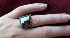 Antique jewel adjustable copper ring square vintage multi faceted hematite unique accesory by MoodsWingz on Etsy