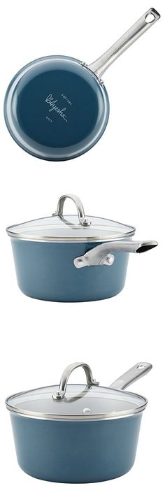 Ayesha Curry Home Collection Porcelain Enamel Nonstick Covered Saucepan, 3-Quart, Twilight Teal Saucepans, Ayesha Curry, Kitchen, Cooking, Kitchens, Cuisine, Cucina, Skillets, Pots