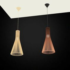 Beautiful Wood Lamps Handmade in Finland - Secto Design Lamps by Seppo Koho Wood Lamps, 3d Models, Lamp Design, Ceiling Lights, Lighting, Interior, Handmade, Finland, Chandeliers