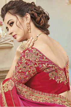 Shaded Pink Two Tone Silk Fabric Saree